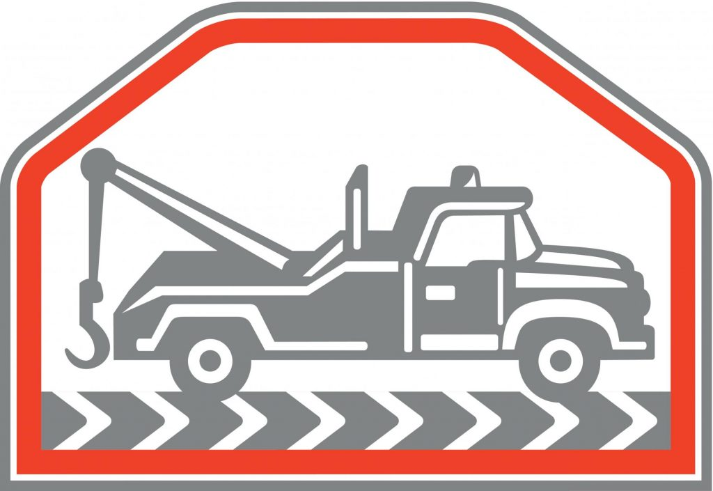 towing truck on the road logo